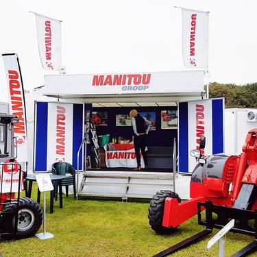 Manitou exhibiting with a Mobex exhibition trailer