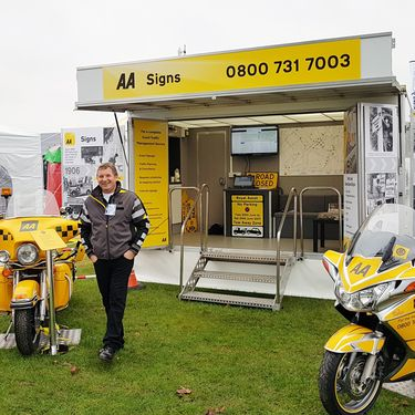 AA Road Signs, exhibition trailer provided by Mobex